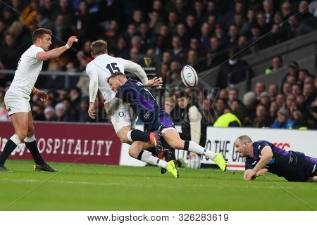 LONDON, ENGLAND - MARCH 16 2019: During the Guinness Six Nations match between England and Scotland at Twickenham Stadium.