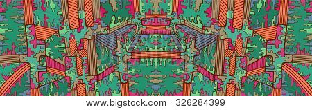 Fantastic Abstract Cyberpunk Psychedelic Background. Colorful Surreal Maze Of Ornaments. Vector Hand