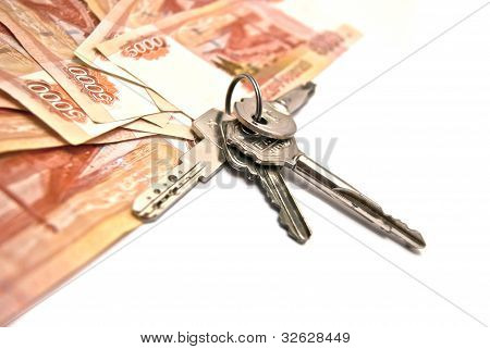 Russian Banknotes And House Keys