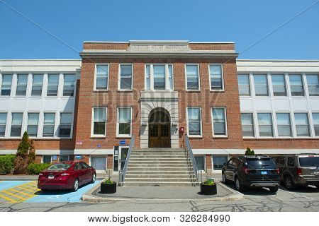 Millis, Ma, Usa - May 10, 2018: Millis Town Hall On Main Street At The Town Center Of Millis In Bost