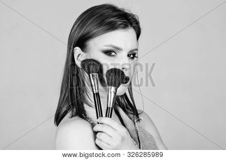 Professional Makeup Supplies. Makeup Artist Concept. Emphasize Femininity. Girl Apply Eye Shadows. L