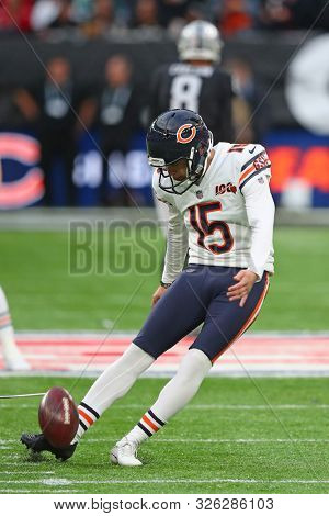LONDON, ENGLAND - OCTOBER 06 2019: Kicker Eddy Pineiro of The Chicago Bears during the NFL game between Chicago Bears and Oakland Raiders at Tottenham Stadium in London, United Kingdom.