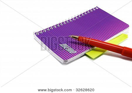 Notebook And Red Pen.
