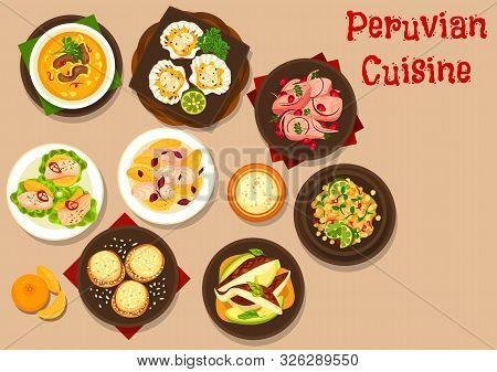 Peruvian Cuisine Vector Design Of Seafood Ceviche With Flounder, Sea Bass And Scallops, Dorado And G