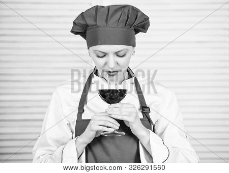 Housewife Prepare Meal With Wine. Housewife Daily Routine. Girl Adorable Chef. Housewife Cooking And