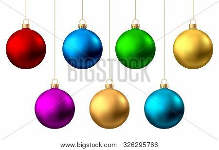 Realistic  Red, Gold, Silver, Blue, Green, Pink, Purple  Christmas  Balls  Isolated On White Backgro