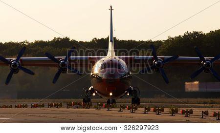 Borispol, Ukraine - September 10, 2019: Ur-csi Cavok Airlines Antonov An-12a Four-engined Turboprop