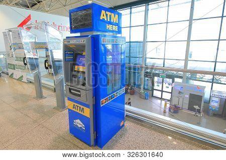 Rome Italy - June 19, 2019: Atm Cash Machine Leonardo Da Vinci Fiumicino Airport Rome Italy