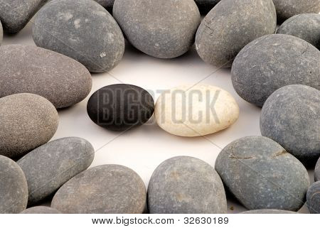 black and white stone surrounded