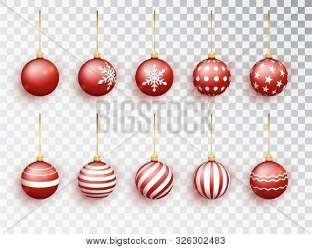 Red Christmas Balls On White Isolated. Set Of Isolated Realistic Decorations. Christmas Tree Toy. Ve