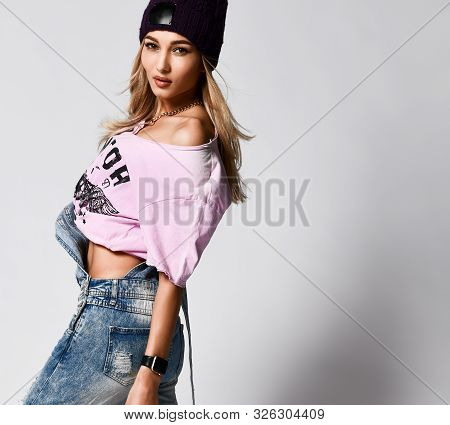 Trendy Hipster Girl Photo In Fashion Urban Outfit. Swag Street Style. Denim Ripped Jumpsuit, Pink Ov