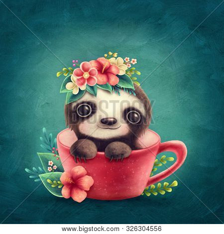 Illustration of a cute Sloth in a Cup