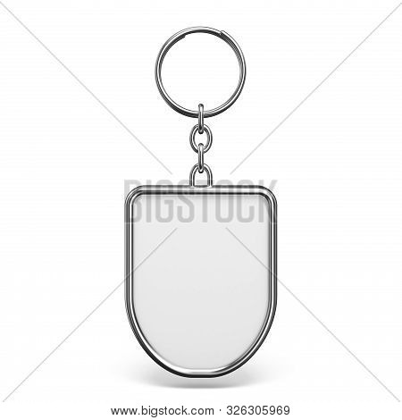 Blank Metal Trinket With A Ring For A Key Rhombus Shape 3d Rendering Illustration Isolated On White