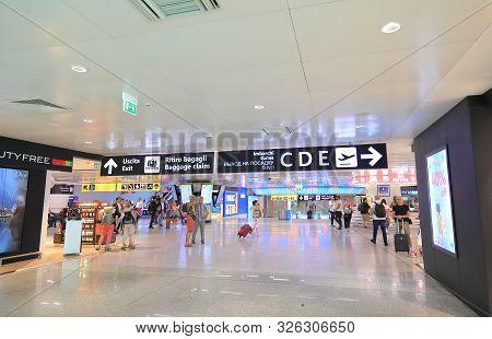 Rome Italy - June 19, 2019: Unidentified People Travel At Leonardo Da Vinci Fiumicino Airport Rome I