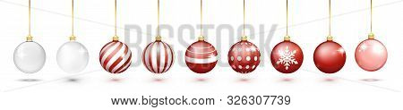 Transparent And Red Christmas Ball Set With Snow Effect Set. Xmas Glass Ball On White Background. Ho