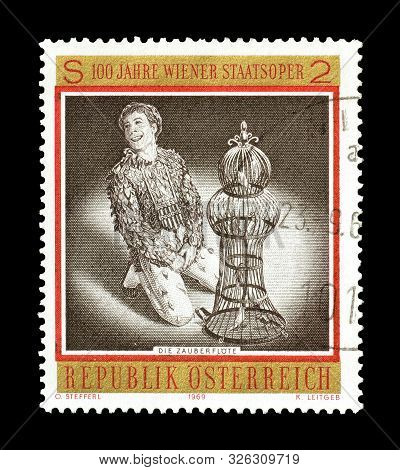 Cancelled Postage Stamp Printed By Austria, That Shows Scene From Opera Die Zauberflote By Wolfgang