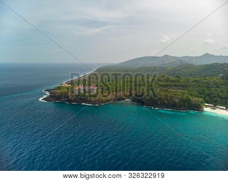 The Town Of Padang Bai With Marine Port. Bali, Indonesia. Aerial Shot