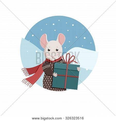 Lovely White Mouse With Red Scarf And Brown Pullover Holds A Present.