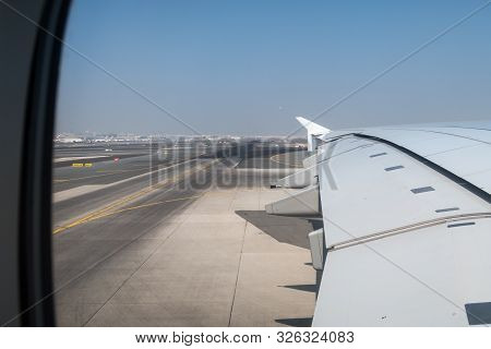 On The Way To The Departure Point To Fly With This Giant Wing Of A380-800 Aircraft