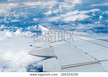 Flying In The Air With This Giant Wing Of A380-800 Plane On A Beautiful Day En Route To Further Plac