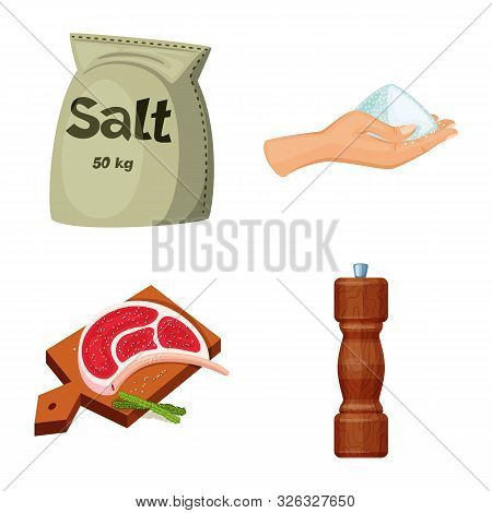 Vector Design Of Salt And Food Symbol. Set Of Salt And Mineral Vector Icon For Stock.