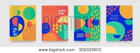 Fun Doodle Pattern Backgrounds With Abstract Shapes And Colors. Modern Trendy Cartoon Pattern For Fu