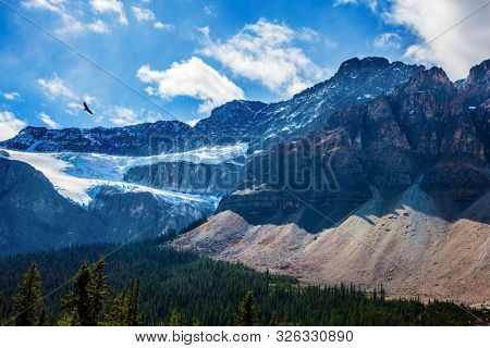 Fairytale Canada. Cloudy fall day in the Canadian Rockies. The famous picturesque glacier