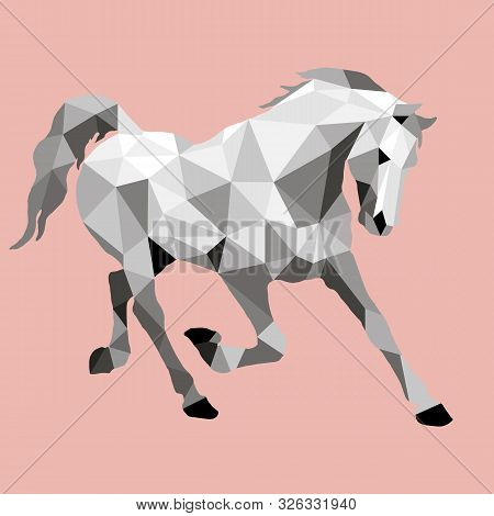 Prancing Horse, Vector-isolated Image On A Rose Background In The Style Of Low Poly