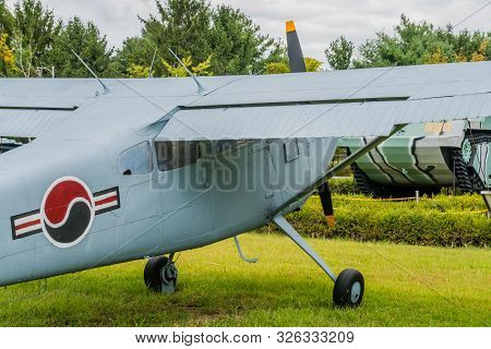 Daejeon, South Korea; October 3, 2019: Closeup Of Starboard Side Of Cessna 140 Military Flight Train