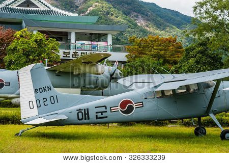 Daejeon, South Korea; October 3, 2019: Cessna 140 And Grumman S-2 Tracker On Display In Public Park