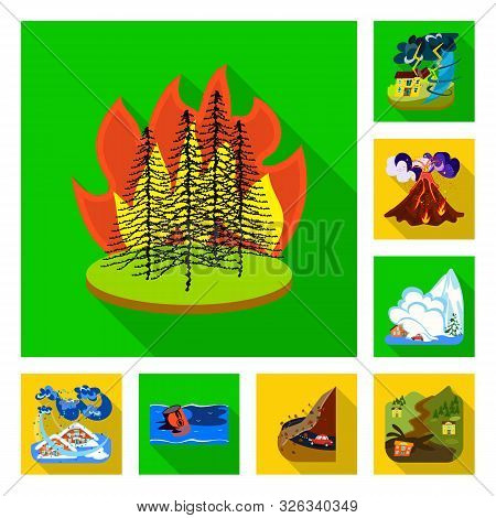 Vector Illustration Of Collapse And Environment Symbol. Set Of Collapse And Distress Vector Icon For
