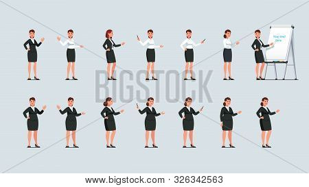 Businesswoman Point At Flipchart With A Stick