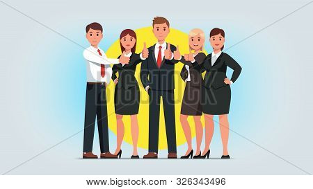 Business Man, Woman Group Showing Thumb Up Gesture