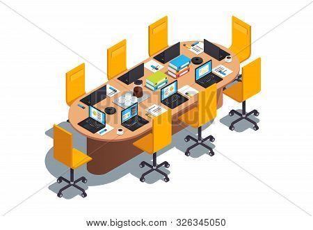 Modern Boardroom Interior Design With Big Table