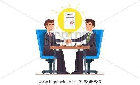 Business People Shaking Hands After Closing Deal