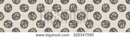 Hand Drawn Japanese Bonsai Tree Symbol Seamless Border Pattern. Soft Ecru Beige Neutral Tone. Grid H