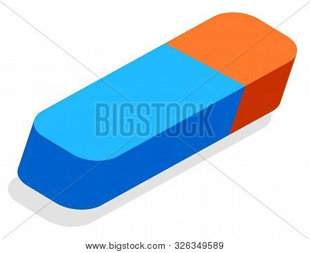 School Stationery Supply, 3d Eraser Or Erasing Tool Vector. Isometric Drawing Item, Education And Kn