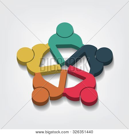 Group Of Five People Logo In A Circle.persons Teamwork Holding Point Of View 3d