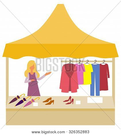 Festival Store Selling Clothes And Accessories For Women, Female Salesperson With Dress And Clothing