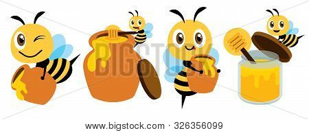 Cartoon Cute Bee Flat Art Mascot Set. Cartoon Cute Bee With Honey Pot Set. Cute Bee Carries Honey Po
