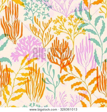 Coral Polyps Seamless Pattern. Kelp Laminaria Seaweed Algae Background. Aquatic Plants Repeating Vec