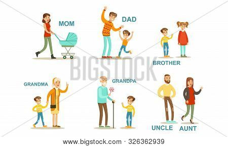 Happy Big Family Members Set, Grandma, Grandpa, Aunt, Uncle, Mother, Father, Brother And Sister Vect