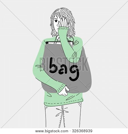 Woman Carrying A Cloth Bag With A Document In An Outdoor Courtyard.doodle Art Concept,illustration P