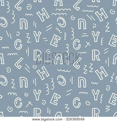 Vector Seamless Pattern With White Letters Of The Alphabet In Random Order