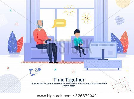 Smiling Grandfather Spending Joyful Time With Grandchild Poster. Cartoon Granny Playing Video Games