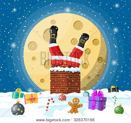 Santa Claus With Bag With Gifts Stuck In House Chimney, Gift Boxes In Snow. Happy New Year Decoratio