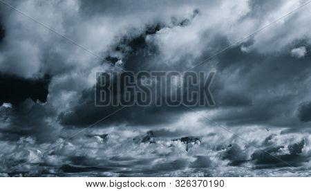 Gray And White Cloud Abstract Background. Sad, Dead, Hopeless, And Despair Background. Thunder And S