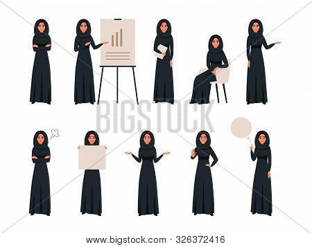 Set Of Successful Creative Business Arab Women In Different Poses. Saudi Business Female Wears Hijab