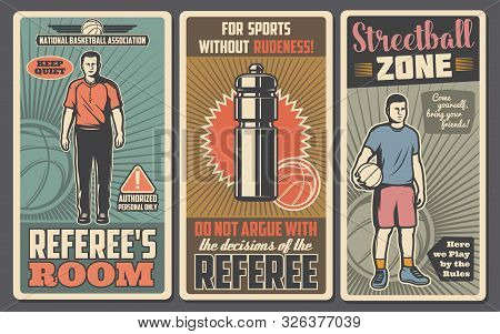 Basketball Or Streetball Sport Game Vector Posters With Balls, Team Player And Referee, Uniform Jers