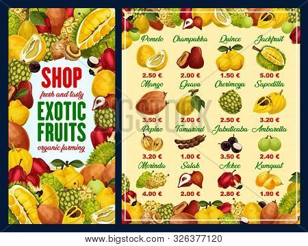 Exotic Fruit Shop Menu With Tropical Berries Vector Frame. Mango, Pomelo And Quince, Jackfruit, Guav